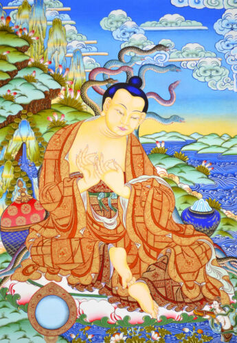 "17"" NATURAL MINERAL COLOR TIBETAN BLACK THANGKA : Nagarjuna bodhisattva"