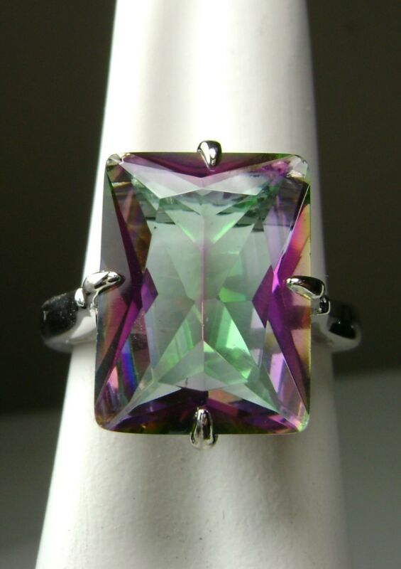 9ct Rectangle Cut Sim Mystic Topaz Sterling Silver Filigree Ring [Made To Order]
