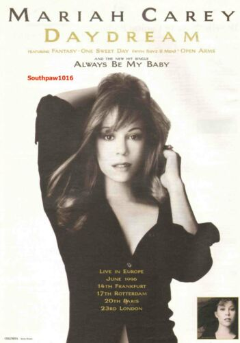 "1995 Mariah Carey ""Always Be My Baby""  Release Music Industry Promo Ad Reprint"