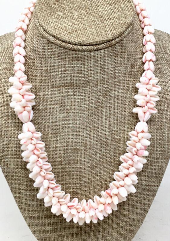 Vtg Natural Shell Lei Necklace Pale Pink Bubble Boho Beach Chic Barrel Clasp EUC
