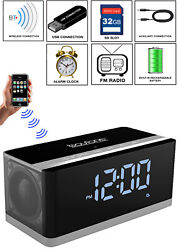 Boytone BT-86C Portable Wireless Bluetooth Speaker FM Radio Alarm Clock