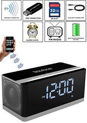 Boytone BT-86C Portable FM Radio Alarm Clock Wireless Bluetooth 4.1 Speaker