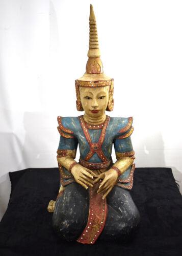 Large Antique Thai Carved Wood Sculpture