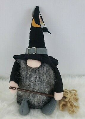 "Halloween Witch Gnome Shelf Sitter 12"" Plush Black Gray Decor Table Top NEW"