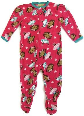 NEW Pink Monkey Ballerina Footed Pajamas for Girls Peas & Carrots Sleeper - Monkey Pajamas For Toddlers