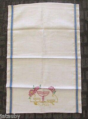 Beautiful Embroidered Tea Towel ( Beautiful Vintage Linen Kitchen Tea Towel Embroidered GLASS Blue Gold Stripes )