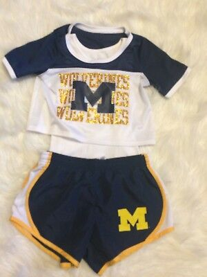Girls University of Michigan Wolverines Outfit Short Set &bonus top (3pc) Size 8](Wolverine Outfits)