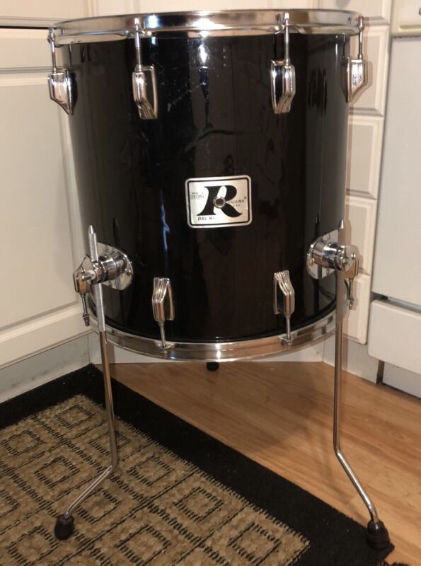 "16"" Vintage Rogers Big R 1970s Floor Tom Drum Black"