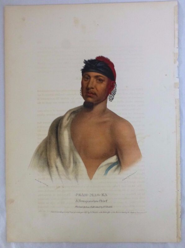 PEAH-MAS-KA  Original Litho. Musquawkee Chief. McKenney & Hall. E.C. Biddle 1837