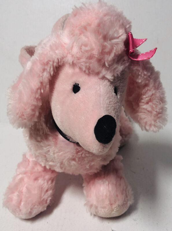 Gymboree Pink Poodle Purse Plush Black Collar Pink Bow Satin-like Lining EUC