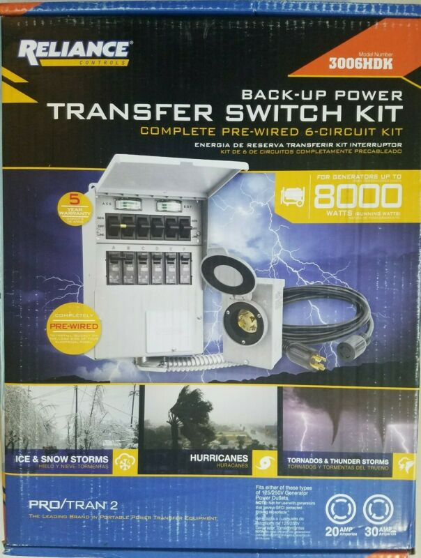 Reliance Controls 30 Amp 250-Volt 7500-Watt Non-Fuse 6-Circuit Transfer Switch