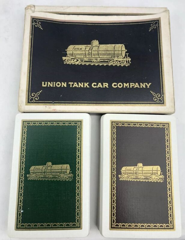 Vintage 1920s UNION TANK CAR COMPANY 2 Decks Playing Cards w Box & Custom Jokers