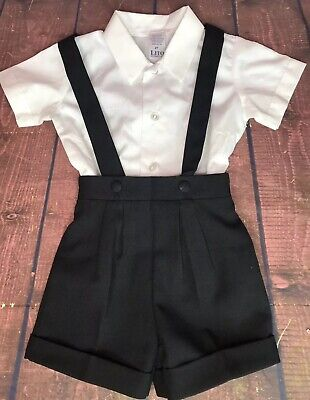 Boys Size 2T Black Shorts White Shirt Lito Childrens Wear Formal Wear Style #850 - Lito Shorts