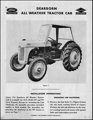 Ford Tractor All Weather Tractor Cab - Operator Assembly Instruction Manual Ft3
