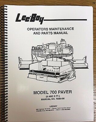 Oem Leeboy Model 700 Paver Operation Maintenance Parts Manual Book