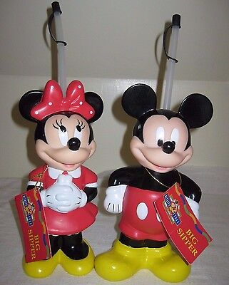 Mickey & Minnie Mouse BIG SIPPER Water Or Drink Bottles w/straws & Tags ~New