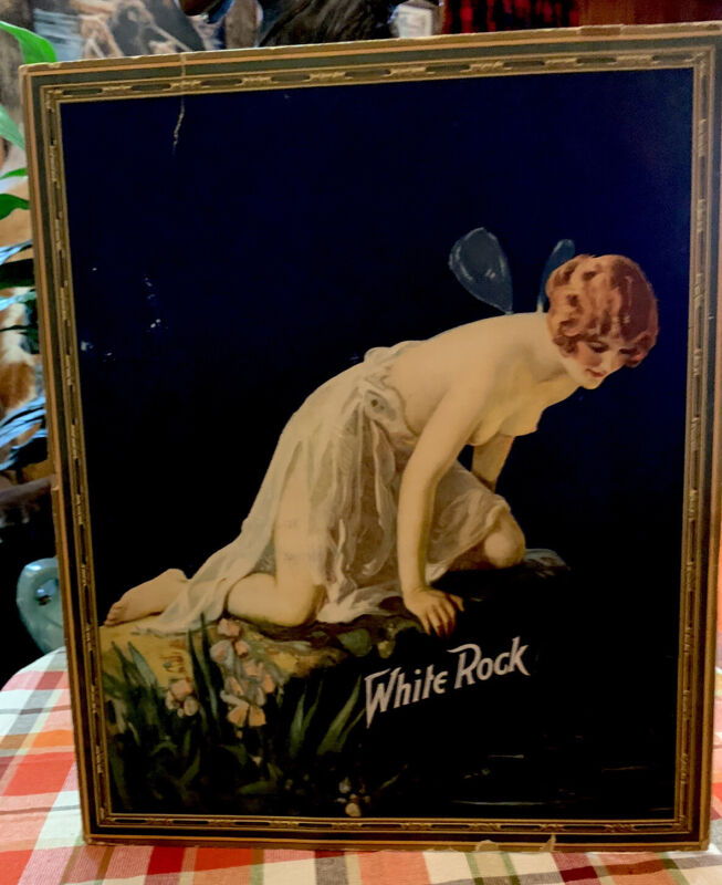 original white rock soda psych table easel display from 1924