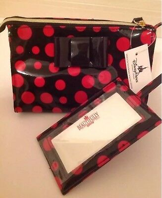 BEAUTIFULLY DISNEY Makeup Cosmetic Bag W/ Mirror Black Red MINNIE Polka Dot NWT
