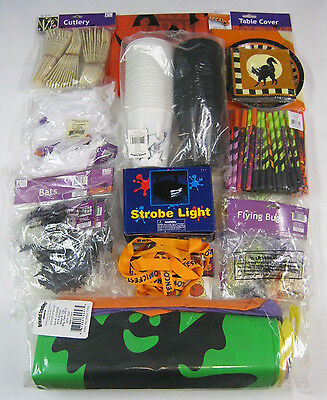 Halloween Party Complete Kit Set:Strobe Light,Plates,Cups,Tattoos,Bags MORE NEW (Party Strobe Light Kits)