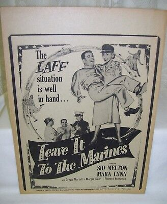 Vintage Movie Poster Leave It To The Marines  Sid Melton  Mara Lynn