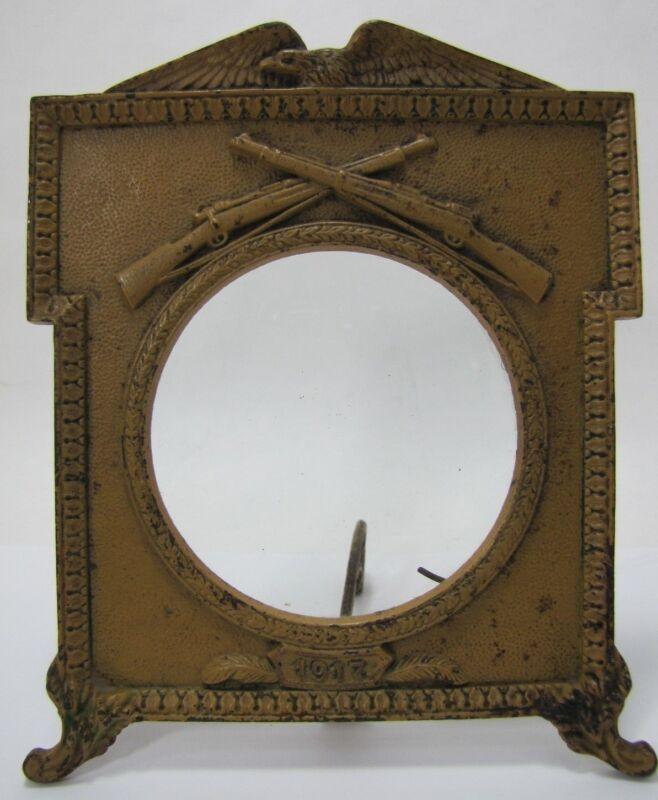 1917 SPREAD WINGED EAGLE RIFLES MILITARY Antique Cast Iron Frame AMERICANA