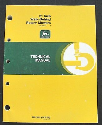 "JOHN DEERE 21"" WALK BEHIND STEEL DECK PUSH MOWER TECHNICAL MANUAL SER. 360001 UP"