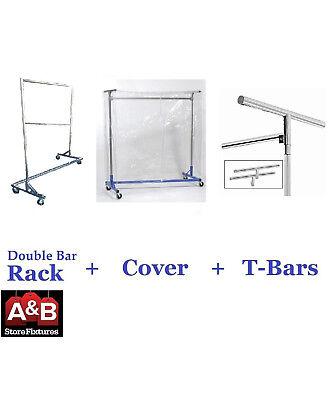 Z Racks Cover Clear Plastic Chrome Rack Double Bar Clothing Garment Clothes