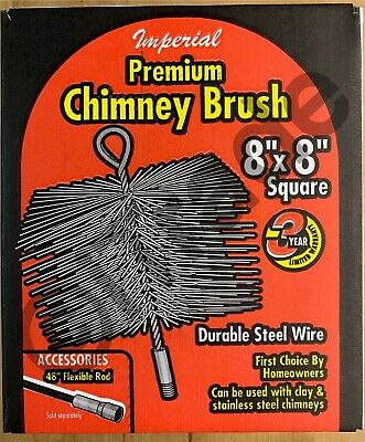 IMPERIAL BR0185 8-In X 8-In Square Durable Steel Wire Chimney Brush NEW Free SH