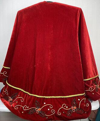 "Luxurious Red Velvet Heavy Gold Trim Jeweled 66"" Christmas Tree Skirt Heavy Embellished Trim"