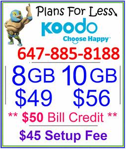 Koodo 8GB 10GB LTE data plan UNLIMITED talk text + $50 BONUS