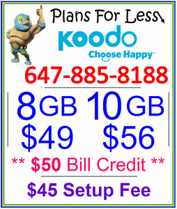 Koodo 8gb $49 LTE data plan + $50 bonus (Promotion Offer!)