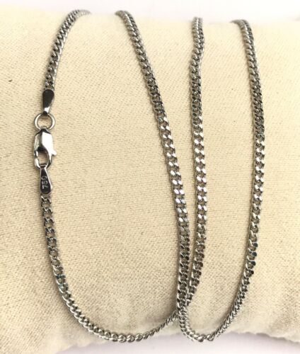 18k Solid White Gold Italian Flat Curb/Link Chain Necklace ...