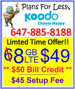 Koodo 8GB $49 LTE data plan UNLIMITED talk text + $50 bonus