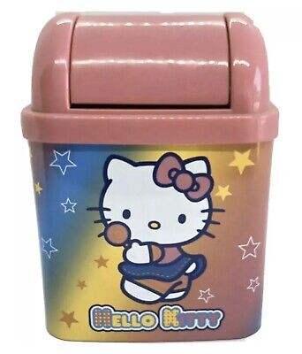 2002 Hello Kitty Mini Trash Can Toy Metal -Plastic.