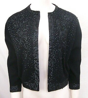 Vintage Beaded Cardigan Sequins Black Wool Cashmere 50s Lined Sweater Large