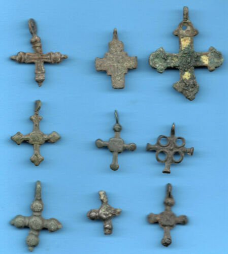 LOT OF 9 Ancient Viking Enamel Bronze Cross Kiev Russia ca 1100 Byzantine 64