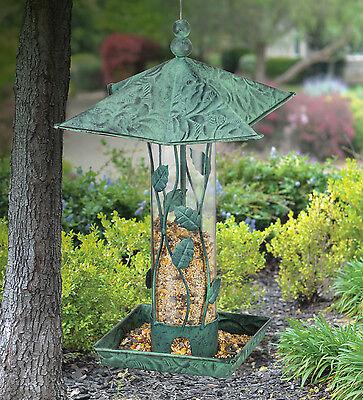 Bird Feeder - Green Branches  - Metal & Glass - Regal Art & Gift 20245