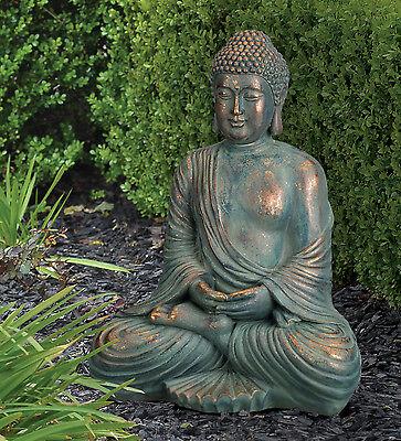 ( BUDDHA STATUE 16'' COPPER PATINA  GARDEN STATUARY regal art & gift  11482)