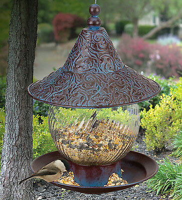 Bird Feeder - BLUE SWIRL - Metal & Glass - Regal Art & Gift 20244