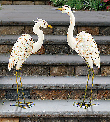 "Small Bird Statuary - Snowy Egret SET OF 2  26"" & 28"" REGAL ART & GIFT 11523-4"