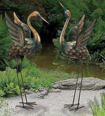 BIRD STATUARY - FLYING PATINA CRANES - SET OF 2 REGAL ART & GIFT 11520-21