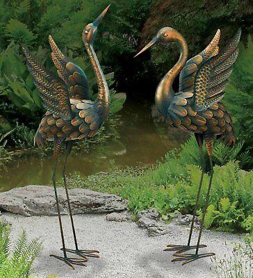 Flying Garden Crane Pair Heron Statue Outdoor Sculpture Metal Bird