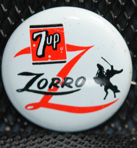 Rare 7up Soda & Walt Disney Productions Zorro Movie Promo Button Pin NOS 1957