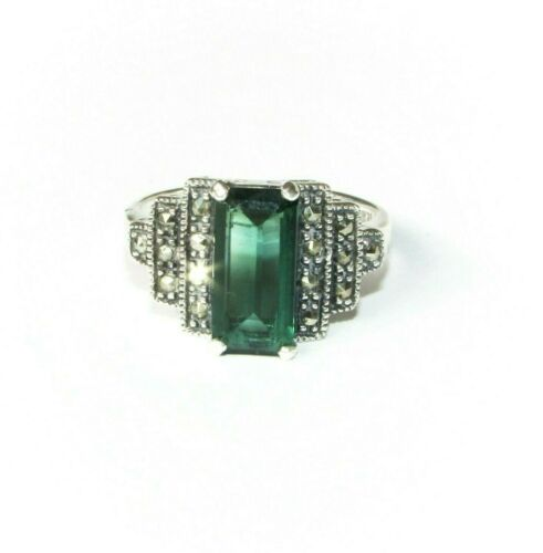Art Deco style vintage solid silver marcasite & green gemstone ring size Q