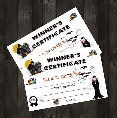 Halloween Game Winners Certificate /,Prize, Party,  Fancy Dress, Spooky/10 - Halloween Party Game Prizes