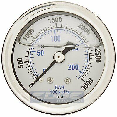 Liquid Filled Pressure Gauge 0-3000 Psi 1.5 Face 18 Npt Back Mount
