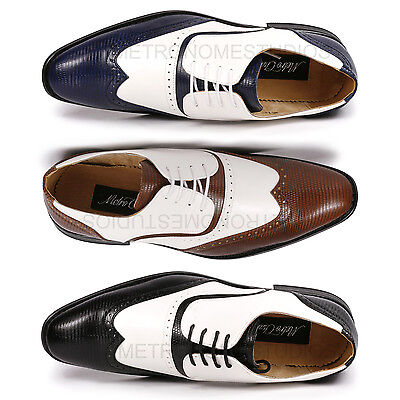 Perforated Wing Tip - Metrocharm MC113 Men's Wing Tip Perforated Lace Up Oxford Dress Shoes