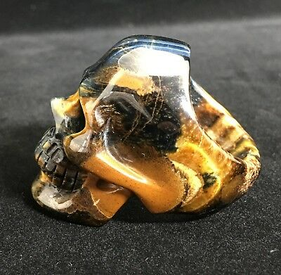 SUPER REALISTIC Golden tigers eye Carved Crystal Skull Ring Quartz Tigers Eye Ring