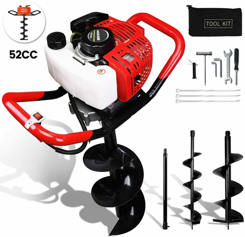 """52CC Post Hole Digger for Fence and Planting with Extention and 6""""+10"""" Drill Bit"""