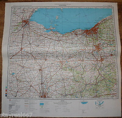Authentic Soviet Army Military Topographic Map Cleveland, Ohio State USA #30